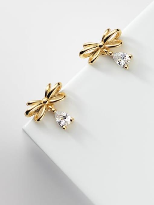 Rosh 925 Sterling Silver Cubic Zirconia Butterfly Cute Stud Earring 1