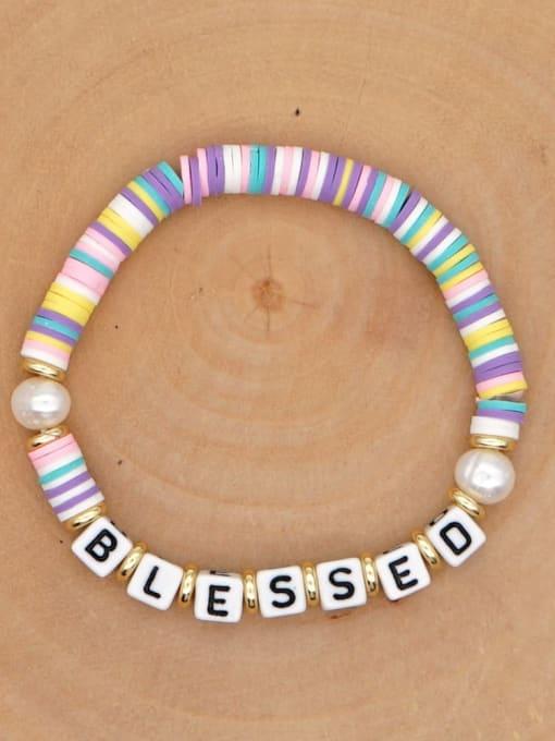 QT B200146G Stainless steel Freshwater Pearl Multi Color Polymer Clay Letter Bohemia Handmade Weave Bracelet