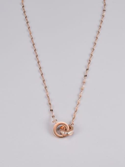 A TEEM Titanium Steel Rhinestone Number Minimalist Necklace 3