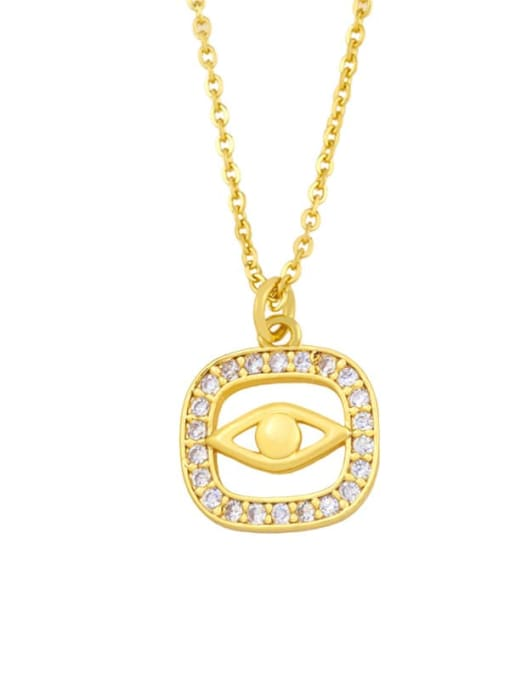 B Brass Cubic Zirconia Evil Eye Vintage Necklace
