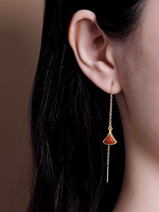 DEER 925 Sterling Silver Jade Triangle Vintage Threader Earring 1