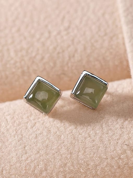 Plain silver and blue jade 925 Sterling Silver Jade Geometric Vintage Stud Earring