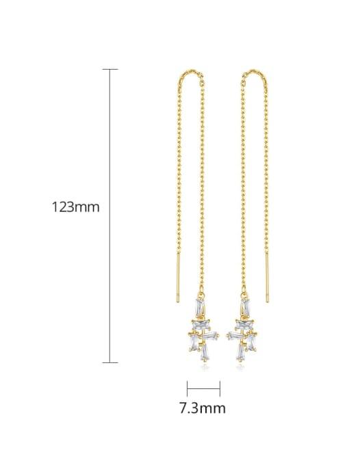 BLING SU Copper Cubic Zirconia Geometric Minimalist Threader Earring 4