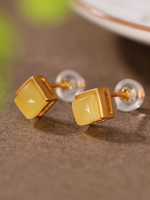 DEER 925 Sterling Silver Geometric Vintage Stud Earring 1