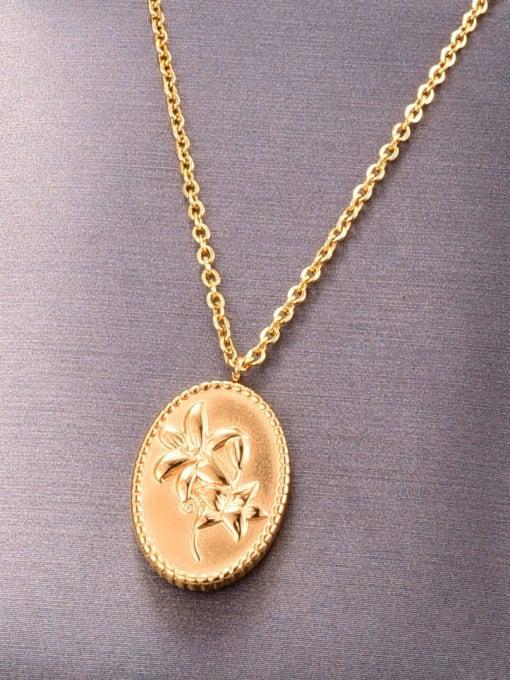 A TEEM Titanium Oval Flowers Minimalist  pendant Necklace 1