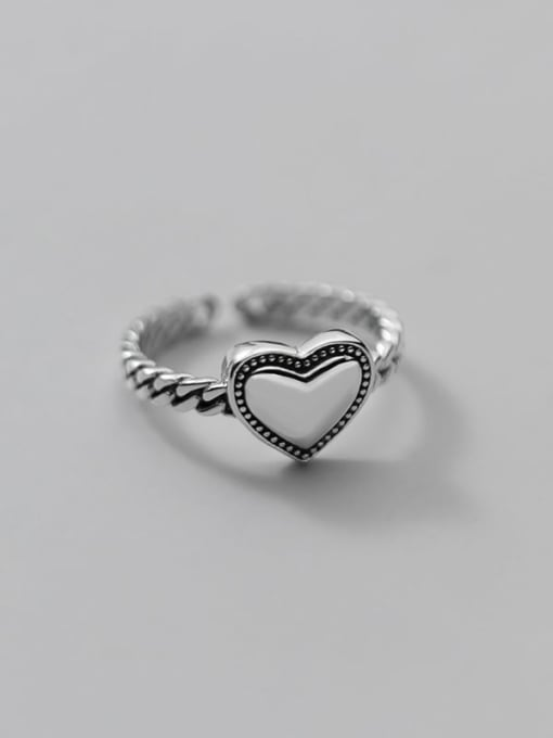 Rosh 925 Sterling Silver Heart Vintage Band Ring 1