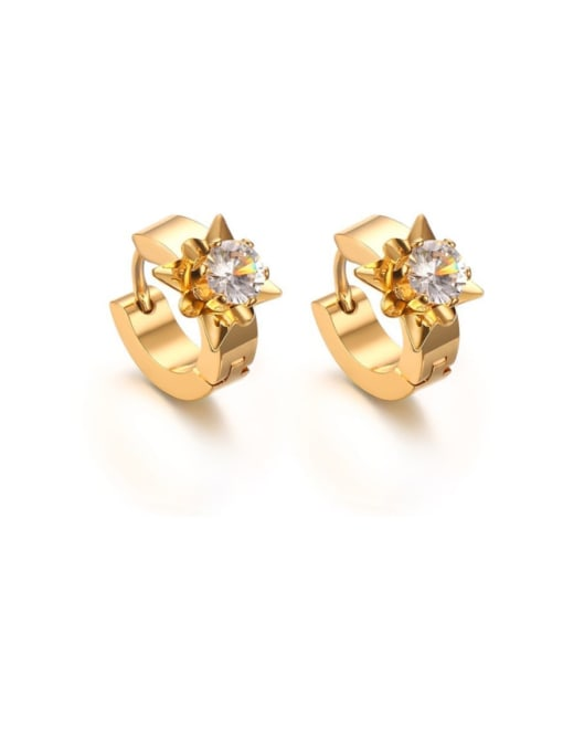 CONG Titanium Steel Cubic Zirconia Geometric Vintage Huggie Earring 0