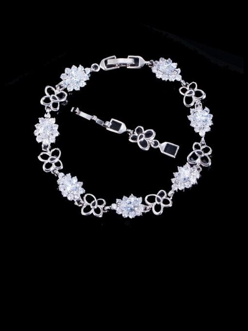 white Brass Cubic Zirconia Flower Luxury Bracelet