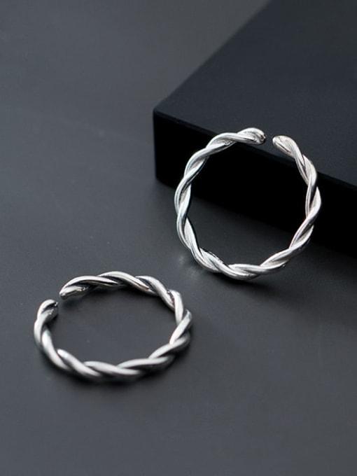 Rosh 925 Sterling Silver Twist Round Minimalist Band Ring 2