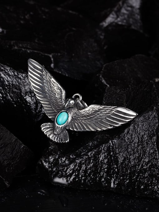 Open Sky Stainless steel Eagle  Turquoise Hip Hop Pendant 2