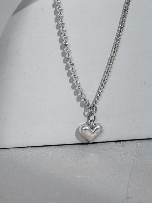 DAKA 925 Sterling Silver Smooth Heart Vintage Necklace 1