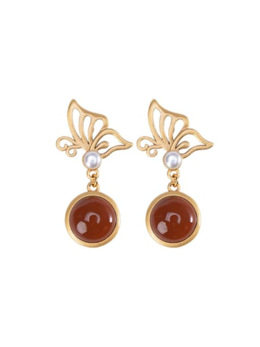 DEER 925 Sterling Silver Carnelian Butterfly Vintage Drop Earring