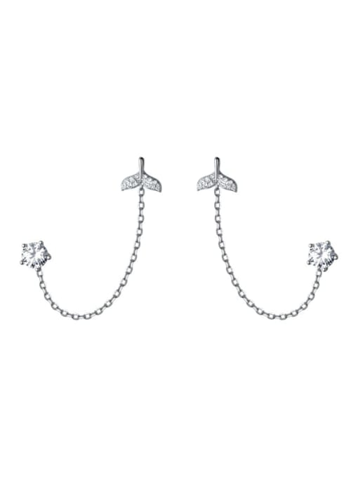 Rosh 925 Sterling Silver Rhinestone Fish Minimalist Stud Earring