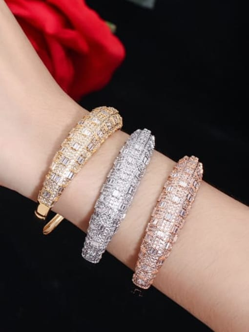 L.WIN Brass Cubic Zirconia Geometric Luxury Band Bangle 1