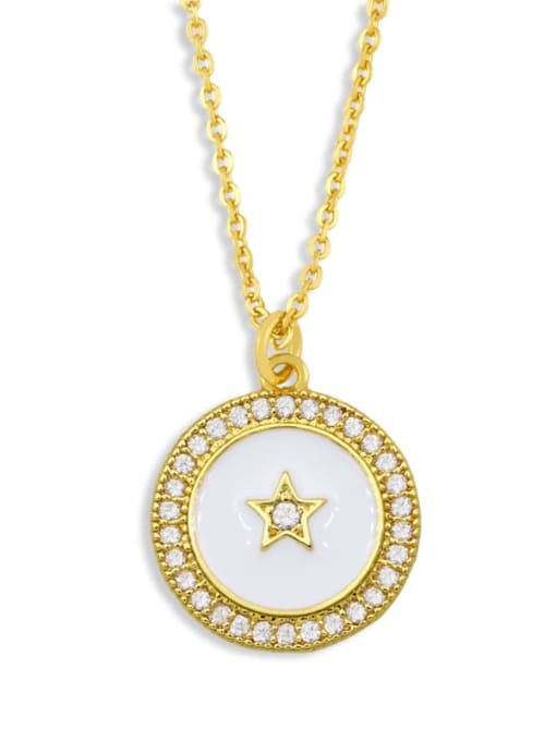 white Brass Cubic Zirconia Enamel Star Ethnic Necklace
