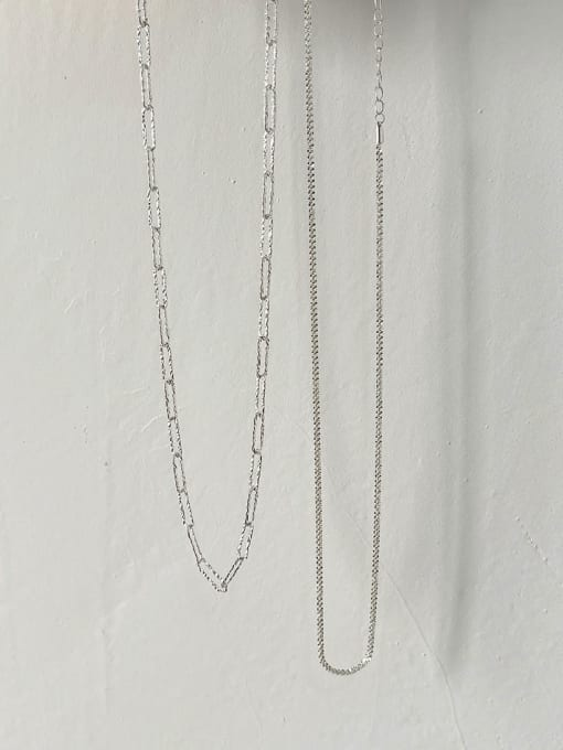 Boomer Cat 925 Sterling Silver Hollow Geometric Chain Minimalist Necklace 2
