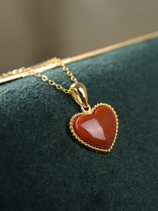 DEER 925 Sterling Silver Carnelian Heart  Vintage Pendant 1