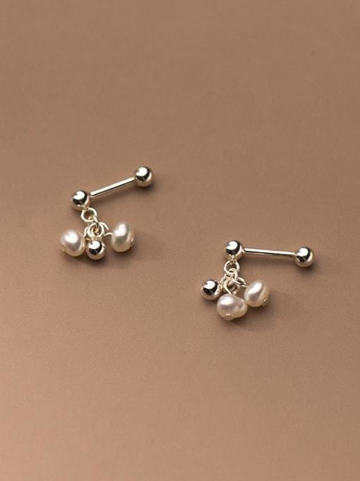 Rosh 925 Sterling Silver Bead Round Minimalist Stud Earring 0