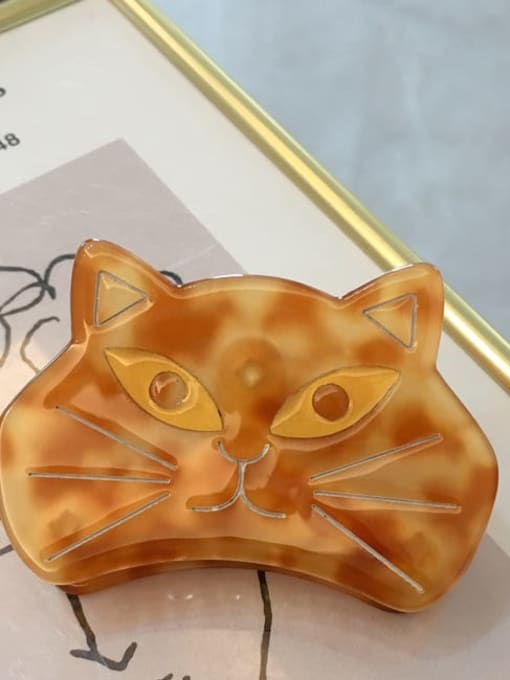 A061 Amber Alloy Cellulose Acetate Acrylic Cat Hair Scratch Hairpin Medium Jaw Hair Claw
