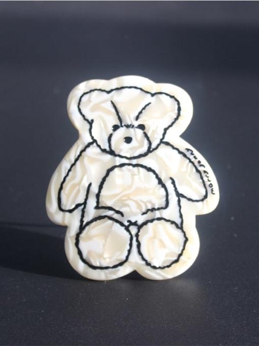 Rice white Cellulose Acetate Cute Bear Zinc Alloy  Spring Hair Barrette
