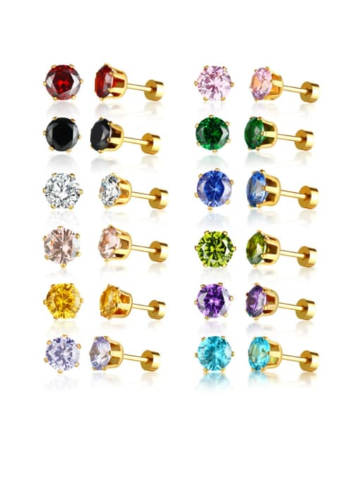 CONG Stainless steel Glass Stone Water Drop Vintage Stud Earring 1
