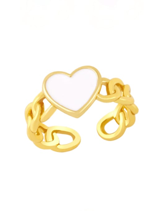 CC Brass Enamel Heart Vintage Band Ring 1