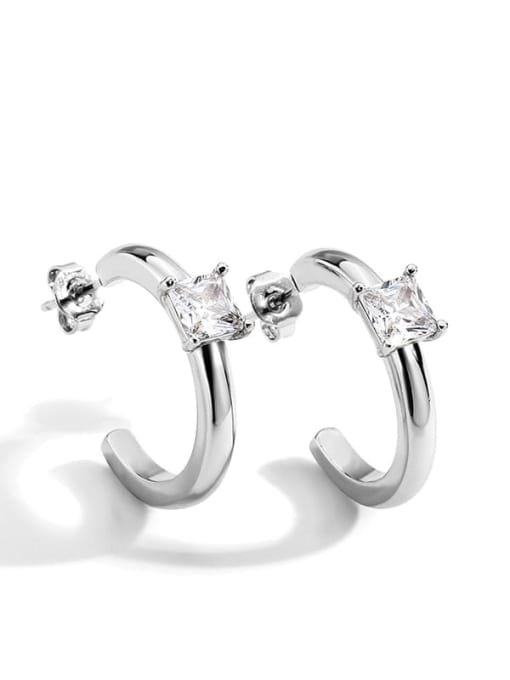 Platinum Earrings Brass Cubic Zirconia Geometric Stud Earring
