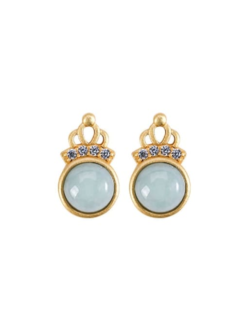 DEER 925 Sterling Silver Jade Crown Cute Stud Earring 0