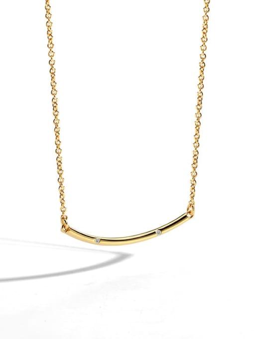 golden Brass Rhinestone Geometric Minimalist Necklace