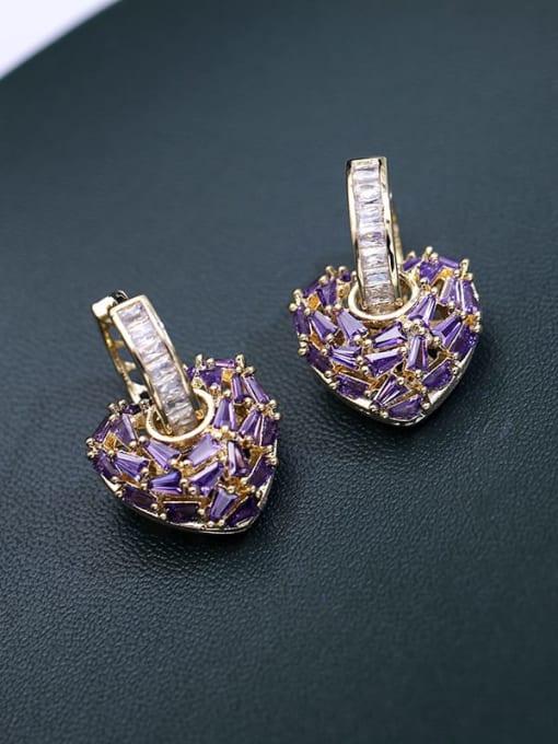 Gold violet zirconium Brass Cubic Zirconia Heart Minimalist Drop Earring