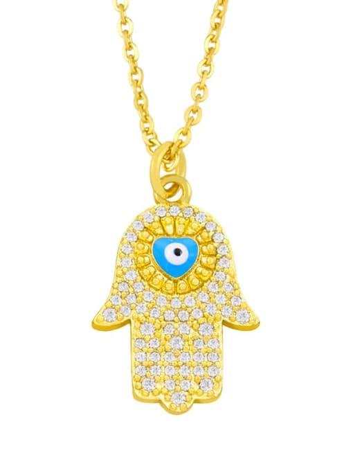 blue Brass Cubic Zirconia Enamel Evil Eye Hip Hop Necklace