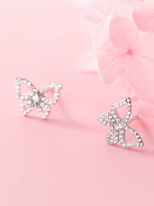 Rosh 925 Sterling Silver Rhinestone Butterfly Dainty Stud Earring 1