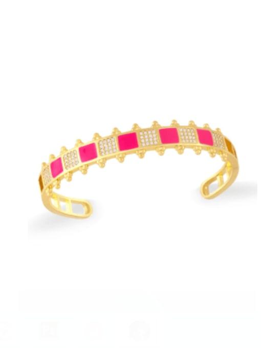 rose gold Brass Cubic Zirconia Multi Color Geometric Vintage Cuff Bangle