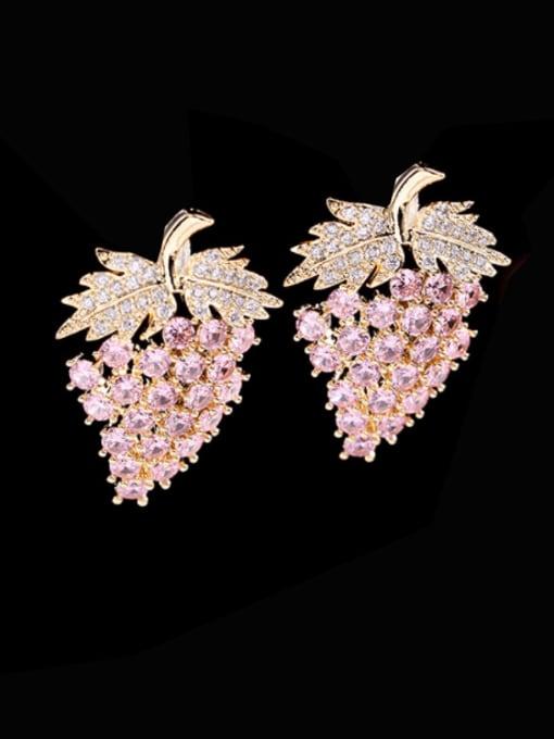 Luxu Brass Cubic Zirconia Friut Trend Stud Earring 0
