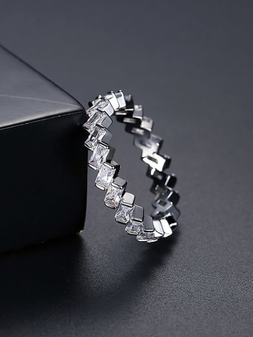 Platinum t17c05 Brass Cubic Zirconia Geometric Minimalist Band Ring