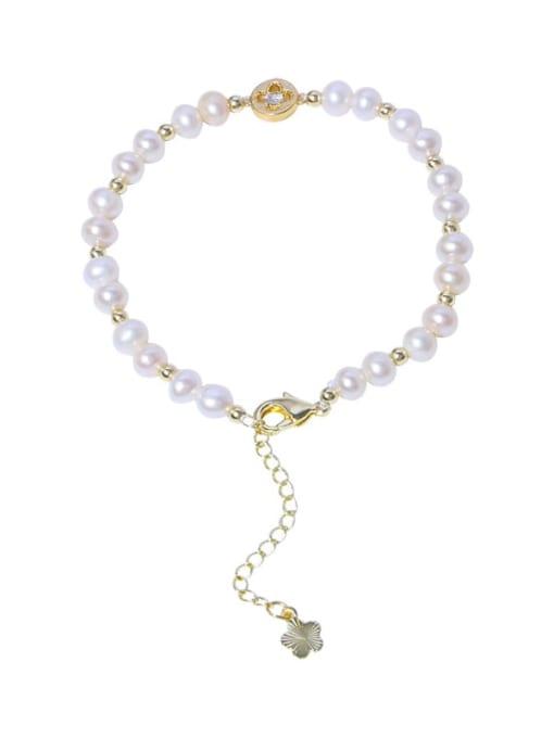 RAIN Brass Freshwater Pearl Round Minimalist Beaded Bracelet