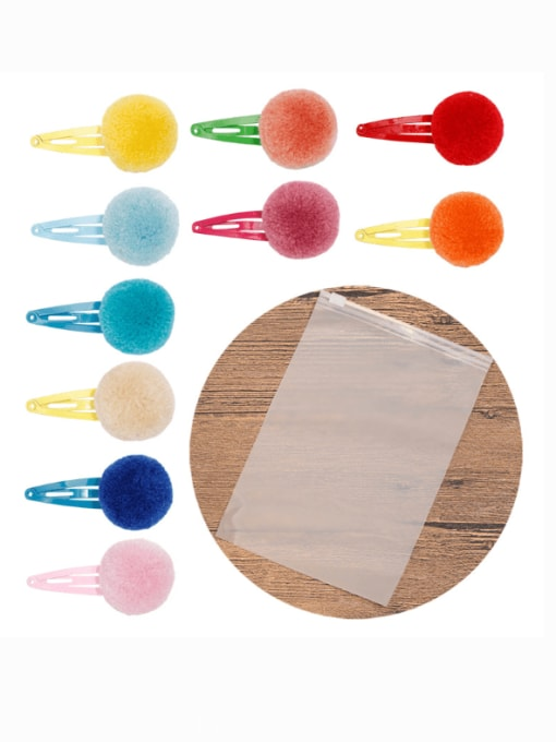 1110 pieces packed in frosted bags Alloy Feather Cute Round ball  Multi Color Hair Barrette