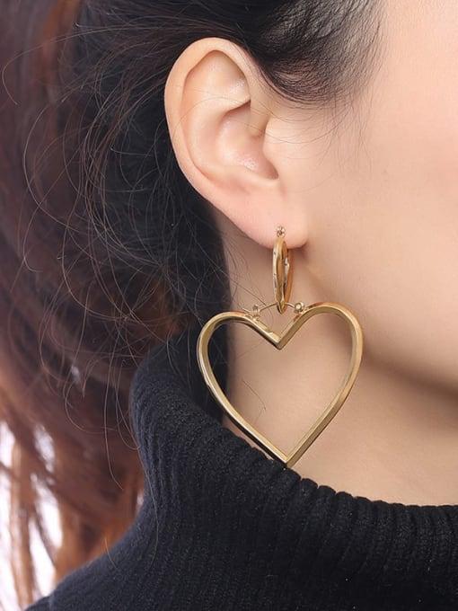 CONG Stainless steel Hollow Heart Minimalist Single Earring 1