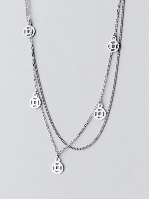 Rosh 925 Sterling Silver Coin Vintage Multi Strand Necklace 3
