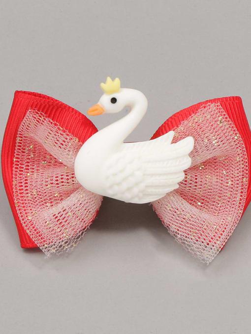 5 beautiful white swan Alloy Yarn Cute Bowknot  Multi Color Hair Barrette