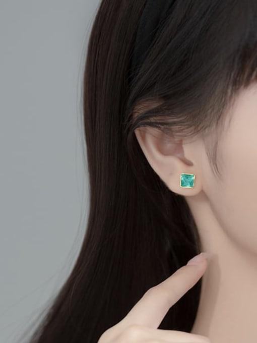 Rosh 925 Sterling Silver Enamel Square Minimalist Stud Earring 1