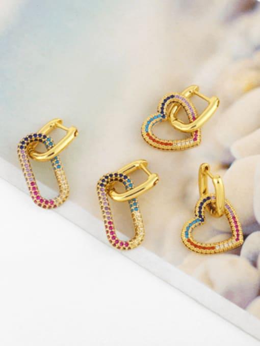 CC Brass Cubic Zirconia Heart Vintage Huggie Earring 0