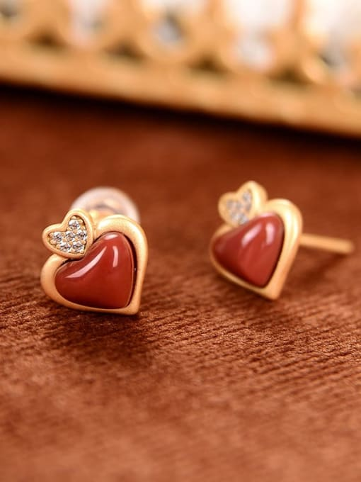 DEER 925 Sterling Silver Carnelian Heart Vintage Stud Earring 3