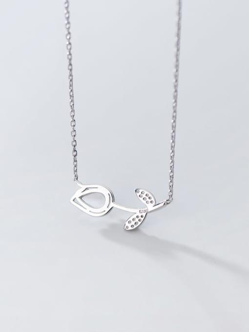 Rosh 925 Sterling Silver Cats Eye Flower Minimalist  pendant Necklace 2