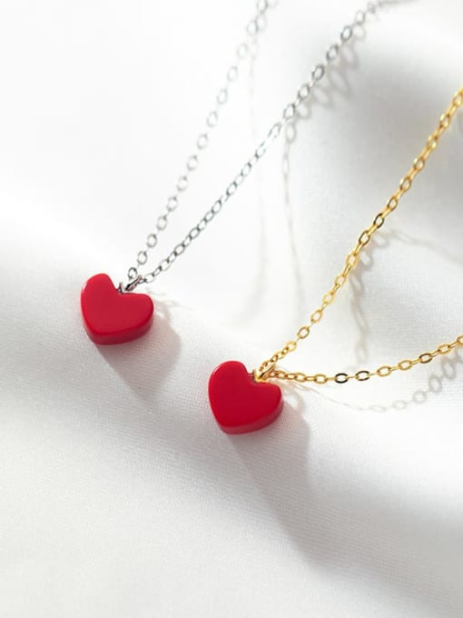 Rosh 925 Sterling Silver Enamel Heart Minimalist Necklace