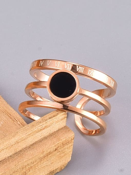 A TEEM Titanium Steel Acrylic Round Vintage Stackable Ring 0