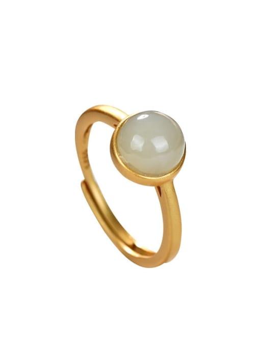 DEER 925 Sterling Silver Jade Round Vintage Band Ring 0