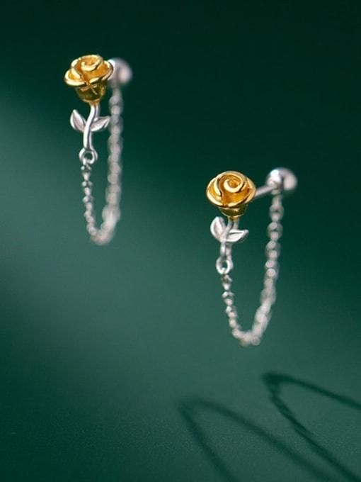 Rosh 925 Sterling Silver Flower Cute Threader Earring 0