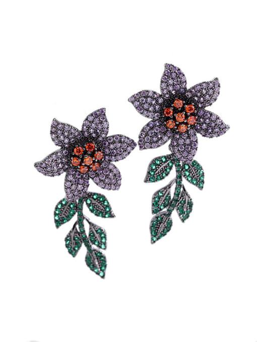 Luxu Brass Cubic Zirconia Flower Statement Cluster Earring 3