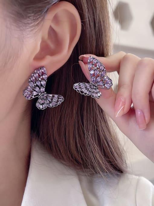 Luxu Brass Cubic Zirconia Butterfly Statement Stud Earring 2